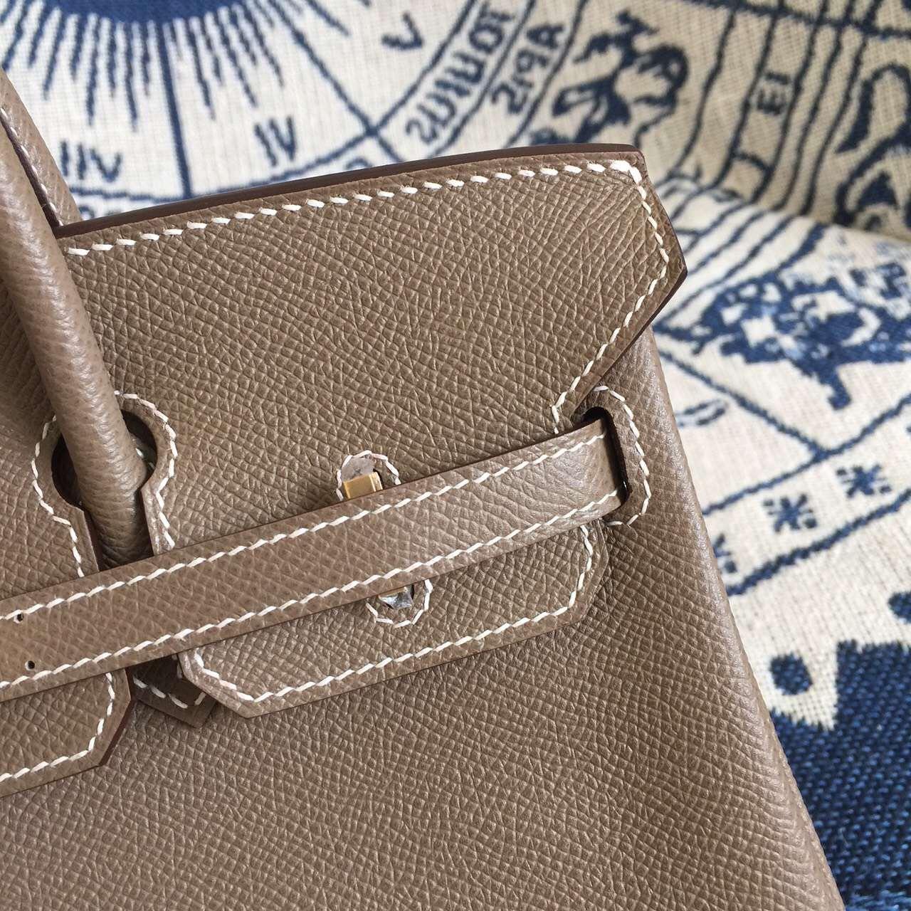 Hand Stitching Hermes C18 Etoupe Grey Epsom Leather Birkin 25CM Ladies' Handbag