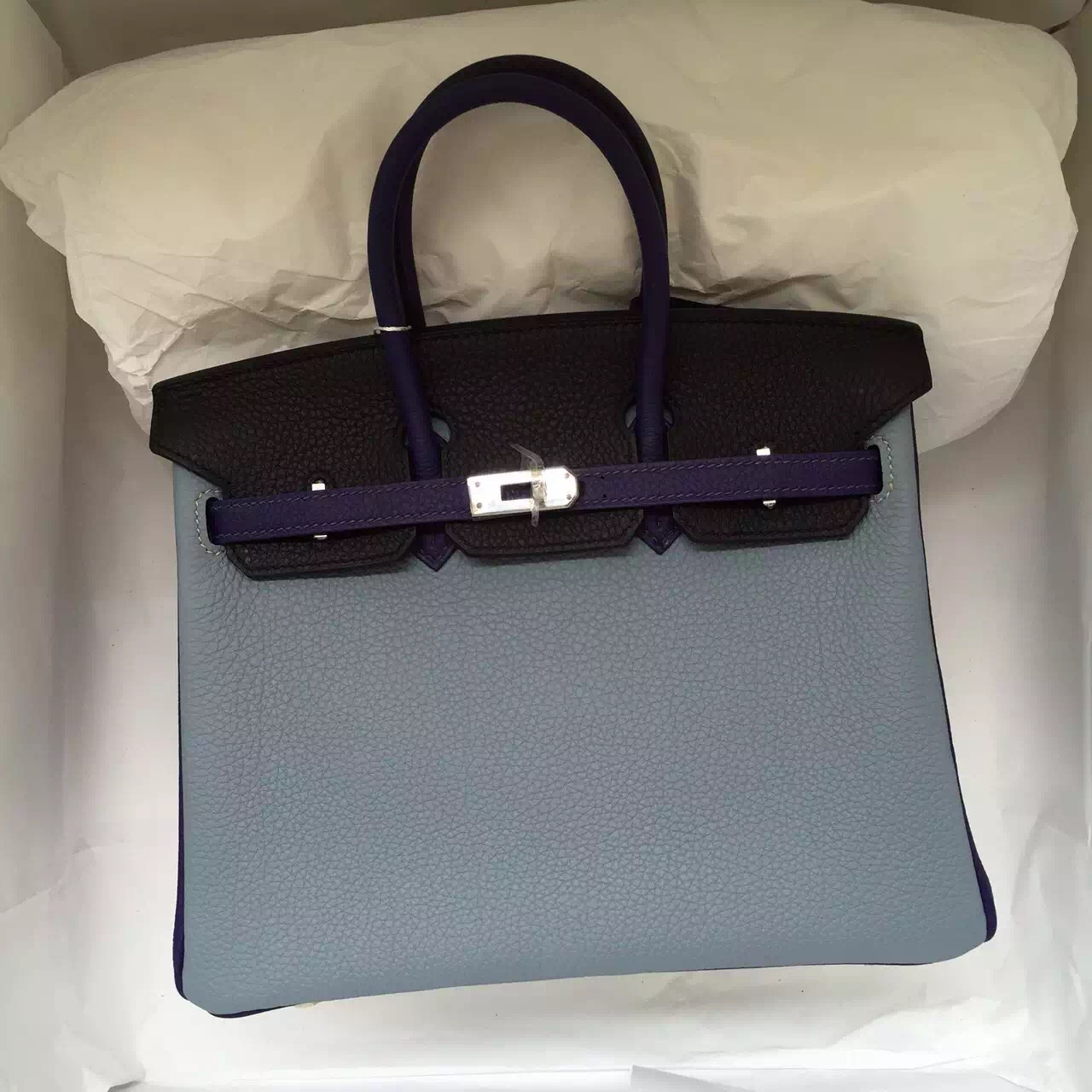 Hand Stitching Hermes Color-blocking Togo Leather Birkin Bag 25CM Silver Hardware