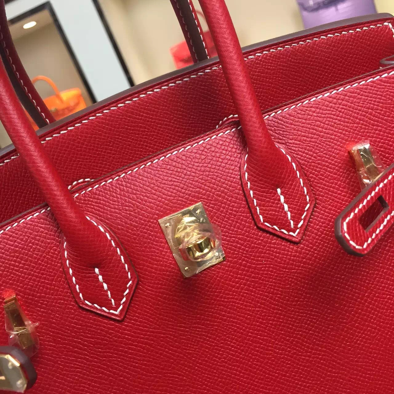 25CM Hermes Birkin Bag Epsom Calfskin Leather Q5 Chinese Red Gold/Silver Hardware