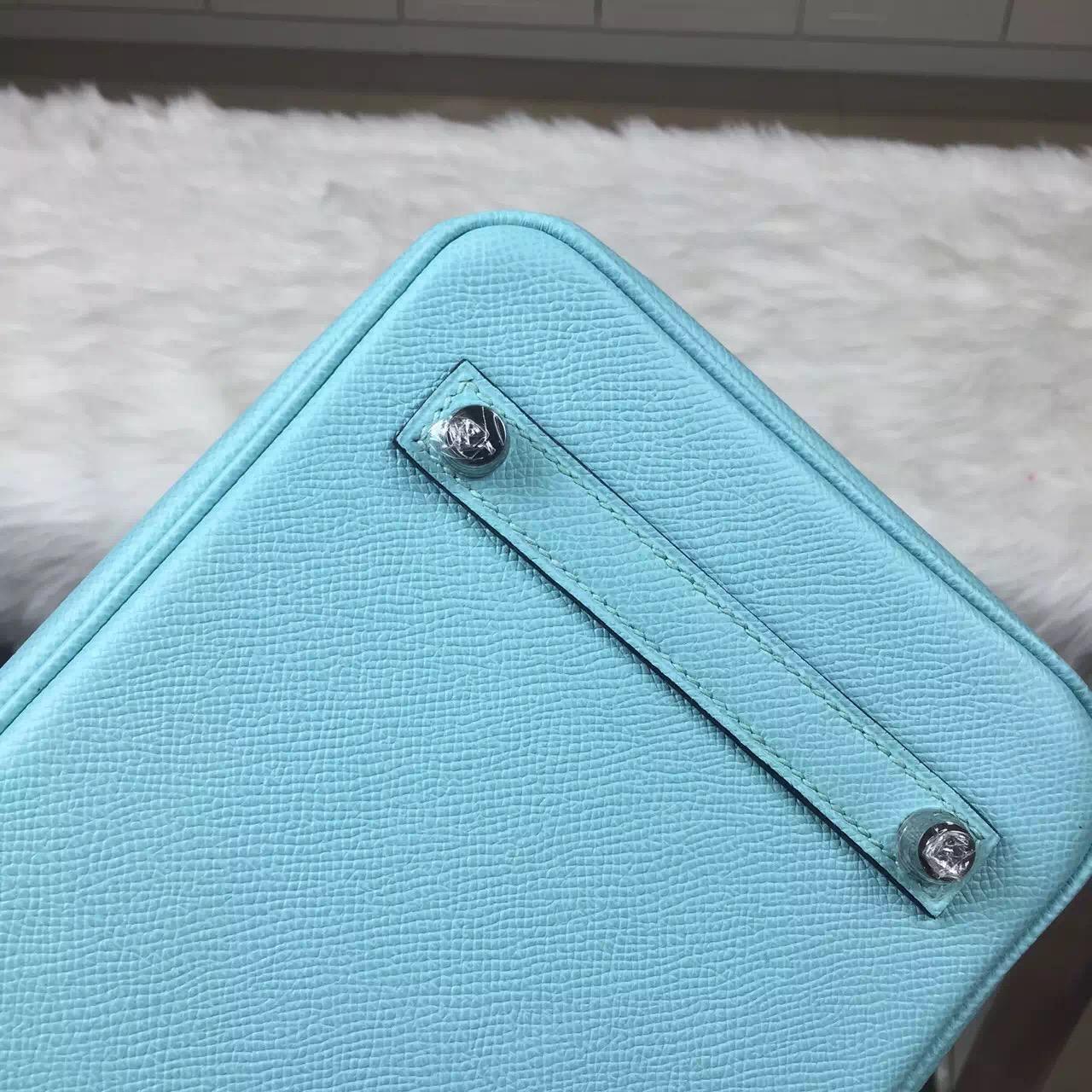 New Fashion Women's Bag Hermes 3P Lagon Blue Epsom Leather Birkin Bag25CM