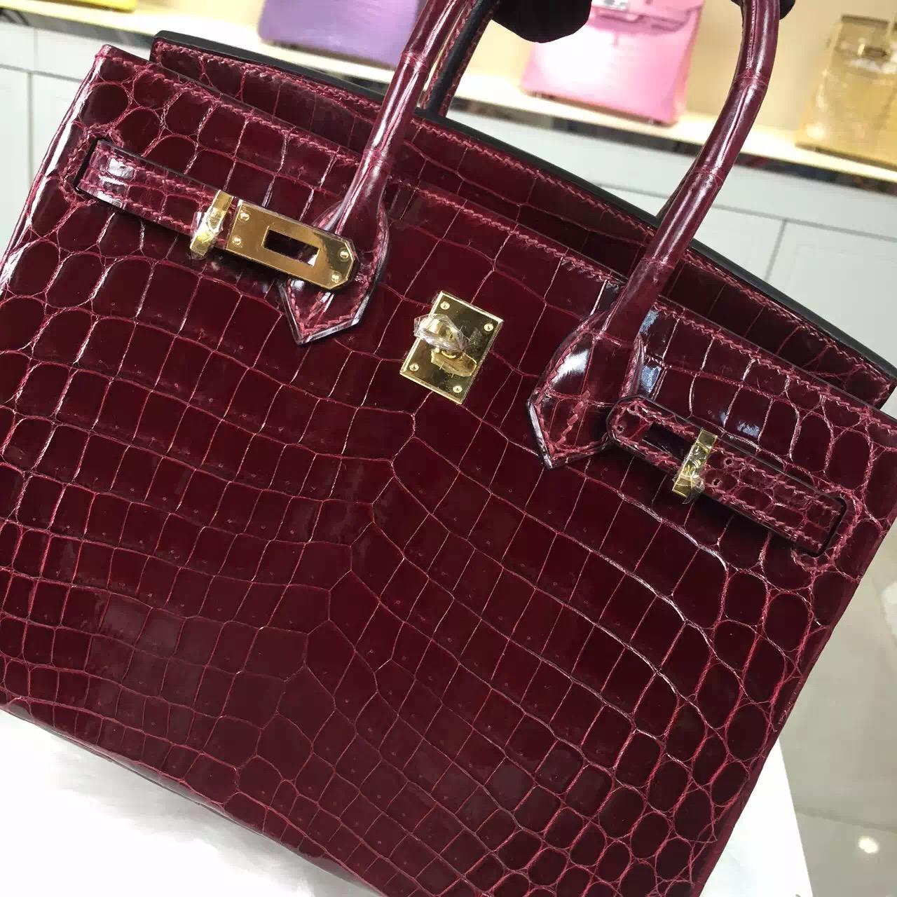 Luxury Women's Bag Hermes Birkin Bag 25CM F5 Bourgogne Red Crocodile Leather