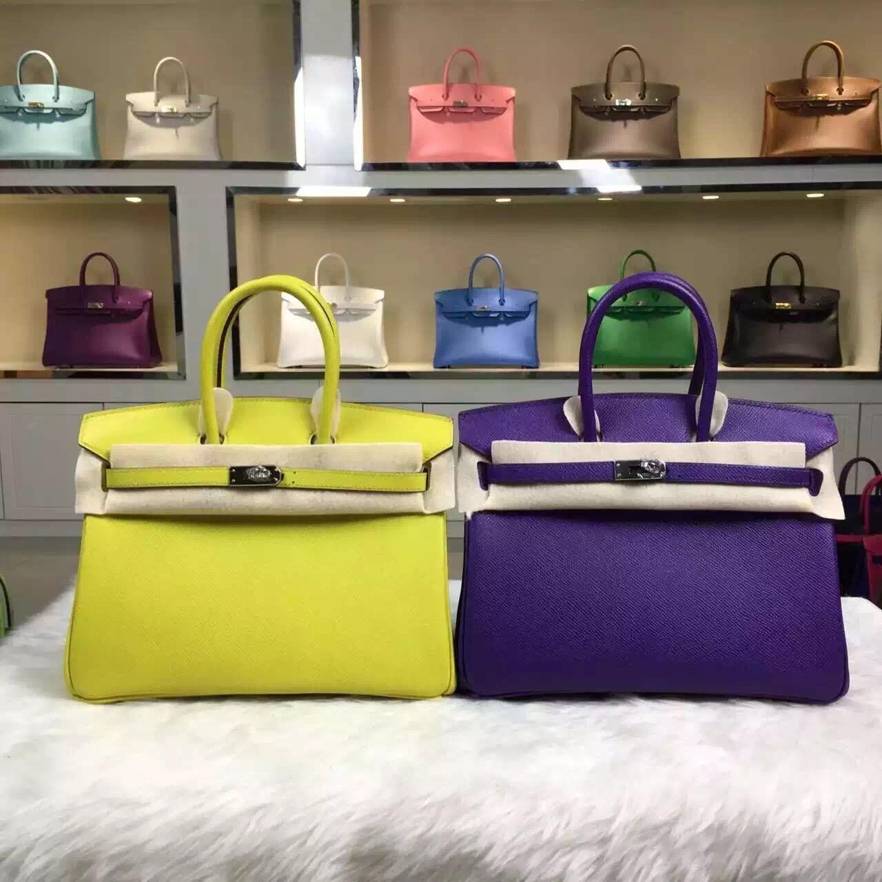 Luxury Hermes Original Epsom Leather Birkin Bag 25cm Lemon Yellow & Ultraviolet