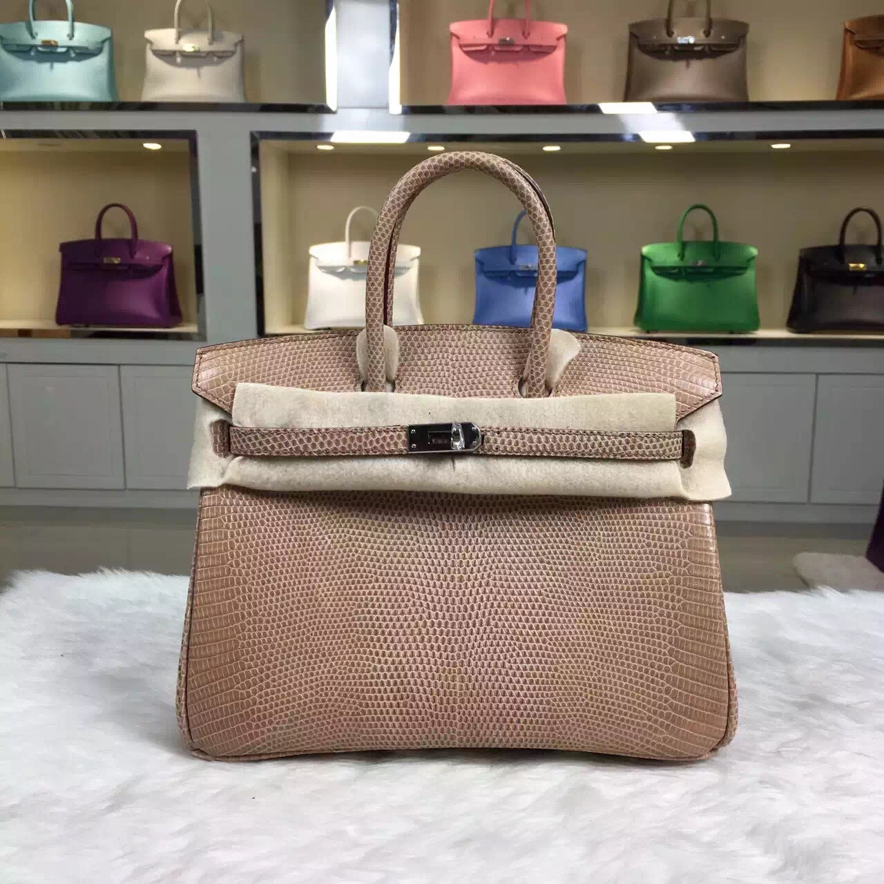 High Quality Hermes Appricot Lizard Leather Birkin Bag 25cm Silver Hardware
