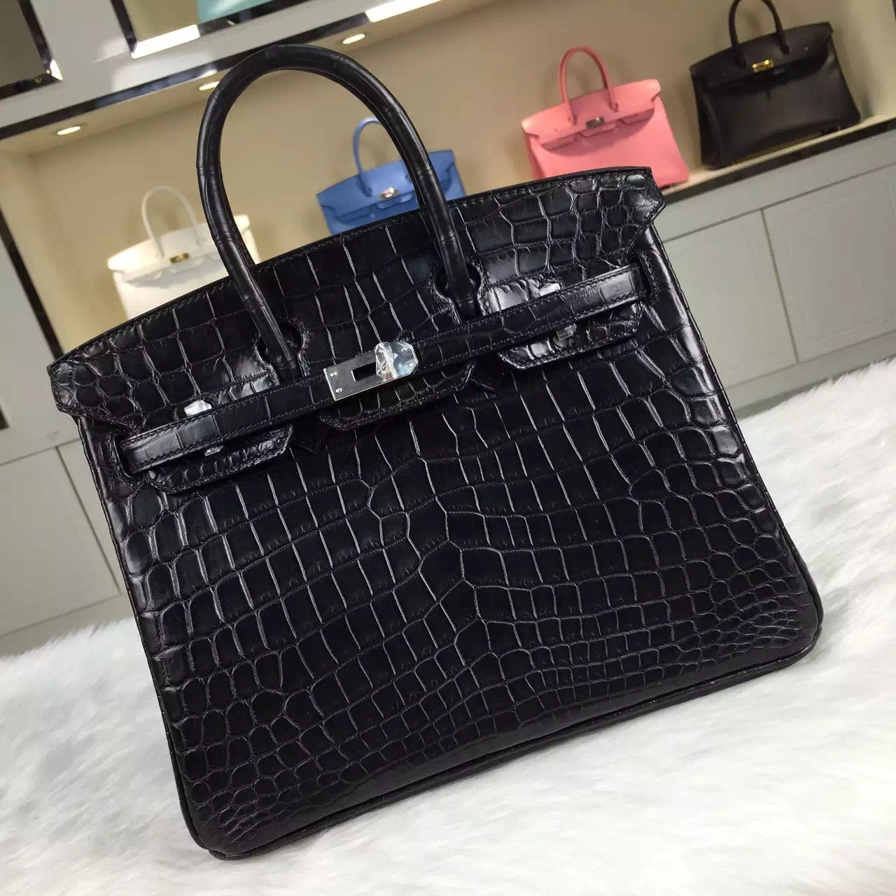 Wholesale Hermes Birkin 25CM Black Crocodile Skin Women's Tote Bag Silver Hardware