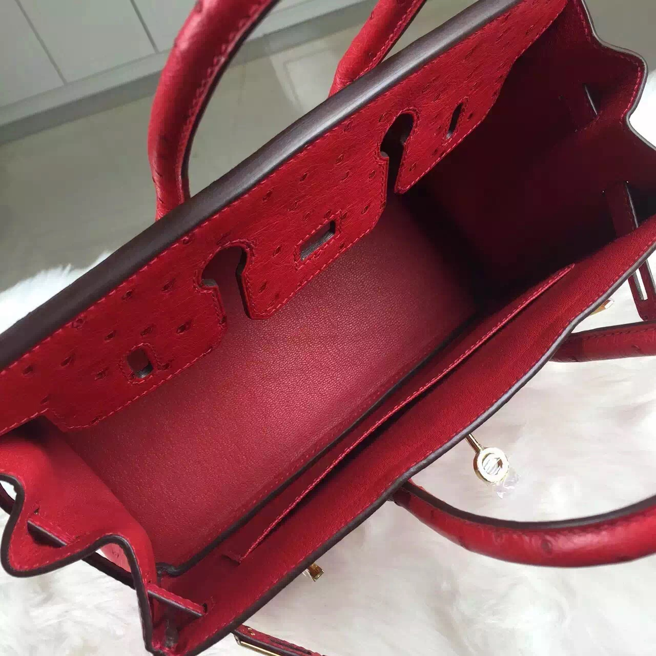 Hand Stitching Hermes Red Ostrich Leather Birkin Bag 25CM Luxury Women's Tote Bag