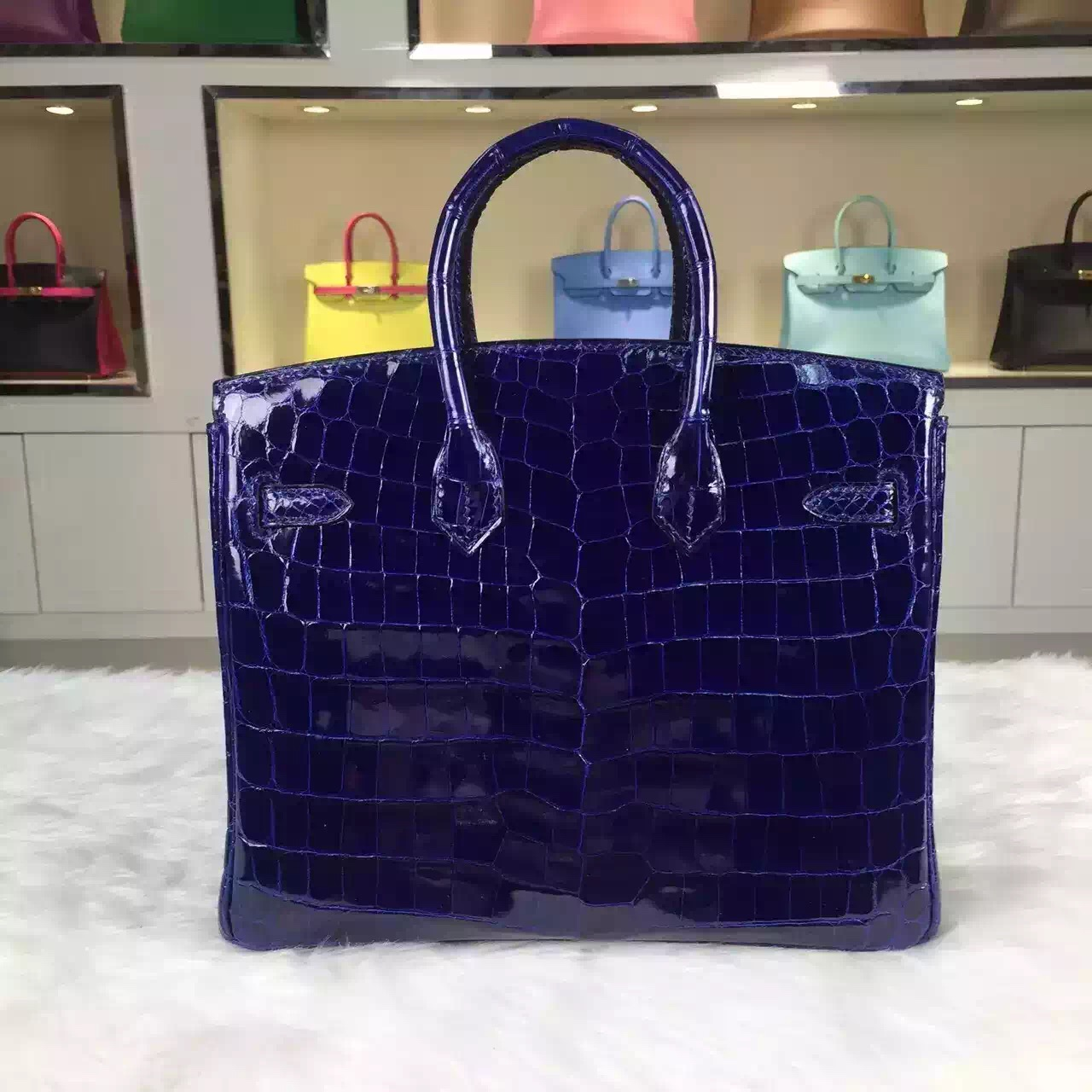 Hot Sale Hermes 7T Blue Electric Crocodile Shiny Skin Birkin Bag25CM Ladies' Tote Bag