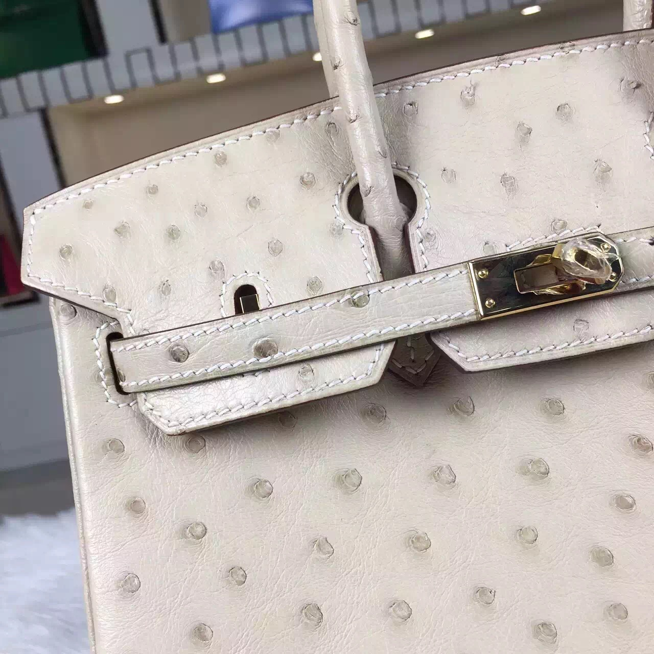 Hot Sale Hermes Original Ostrich Leather Birkin Bag 25cm in 3C Wool White