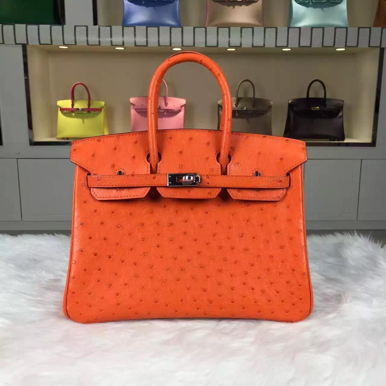 High Quality Hermes Orange HCP Original Ostrich Leather Birkin Bag 25cm Silver Hardware