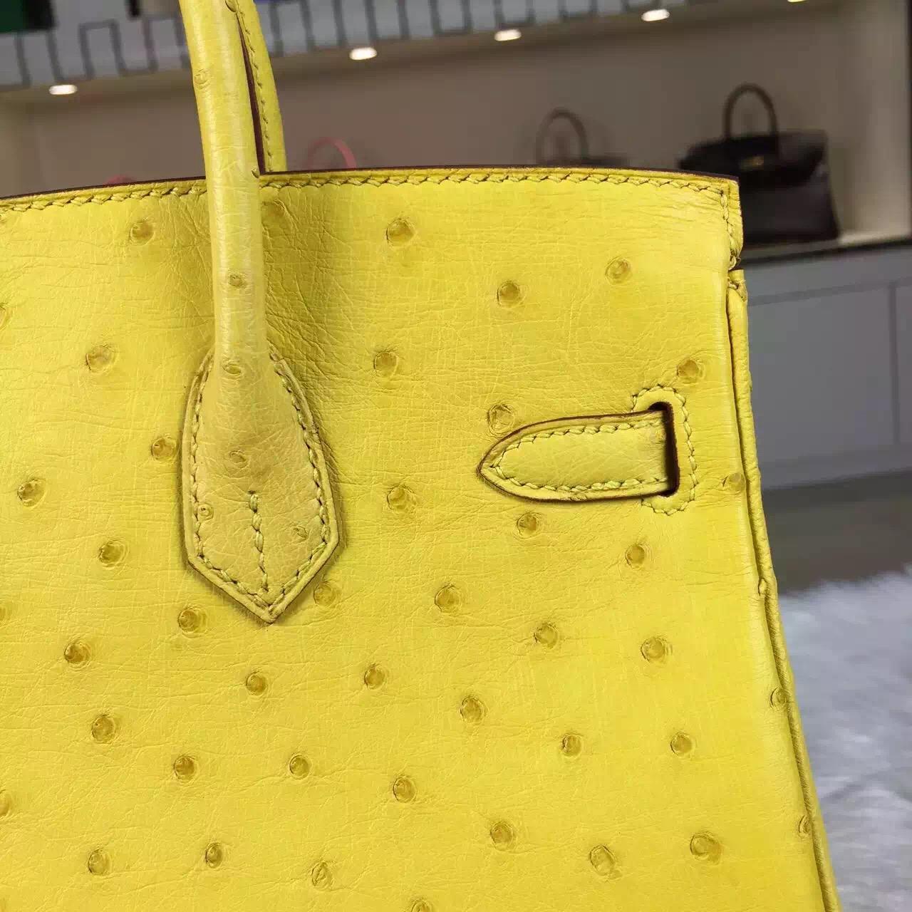 Hermes Customised HCP Original Ostrich Leather Birkin Bag 25cm in Lemon Yellow