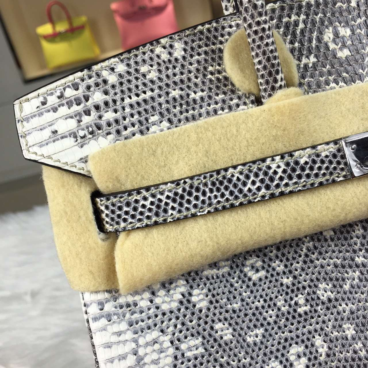 Online Shopping Hermes Original Color Lizard Skin Birkin Bag 25cm Silver Hardware