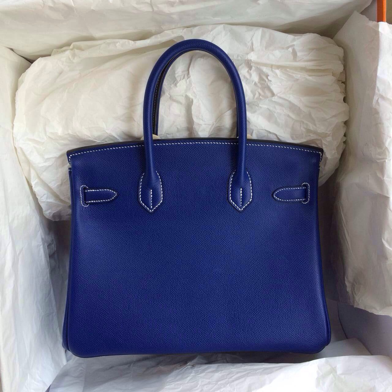 Birkin handbag togo leather Shiny Bleu Electrique Palladium Hardware