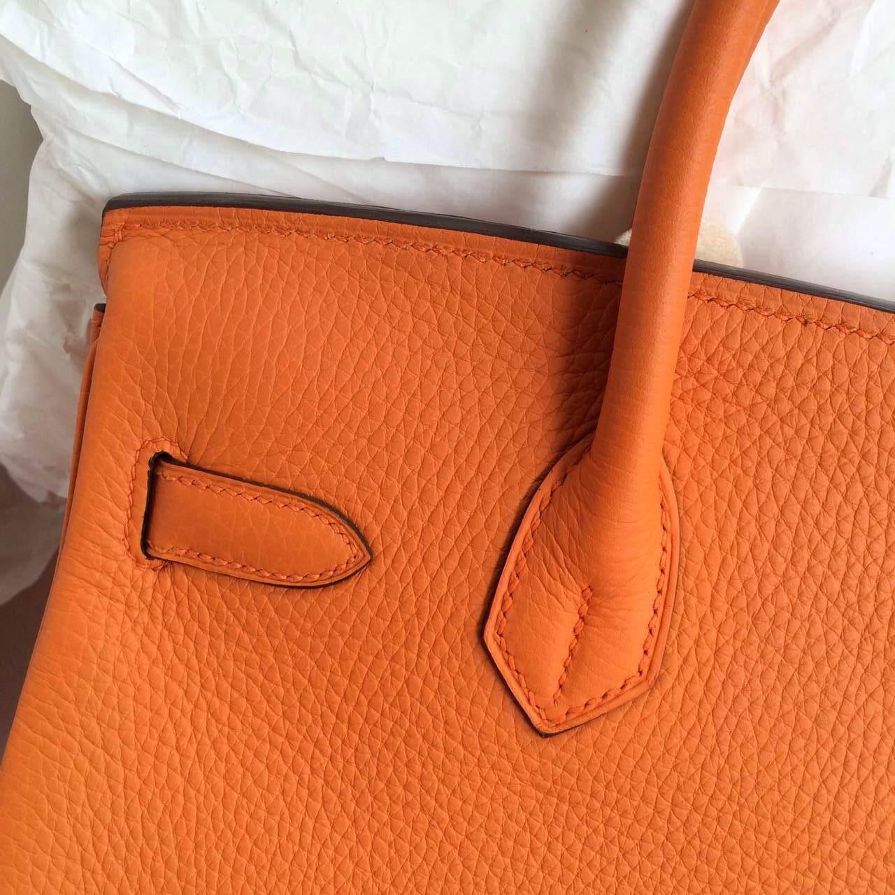 Hand Stitching Birkin30 Handbags Orange France Togo Leather Gold Hardware