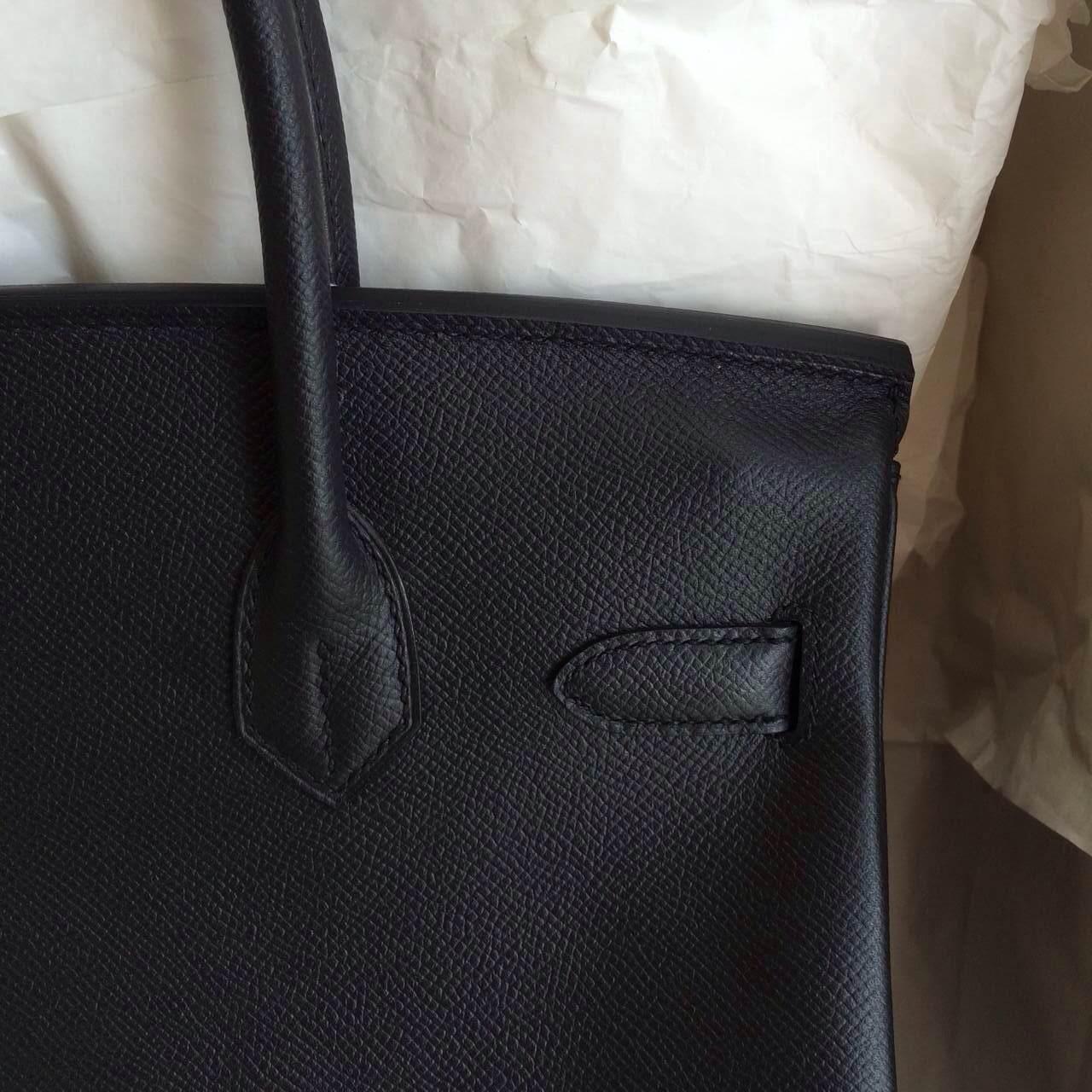 France Epsom Leather Hermes Birkin 30cm Silver/Gold Hardware Black Color