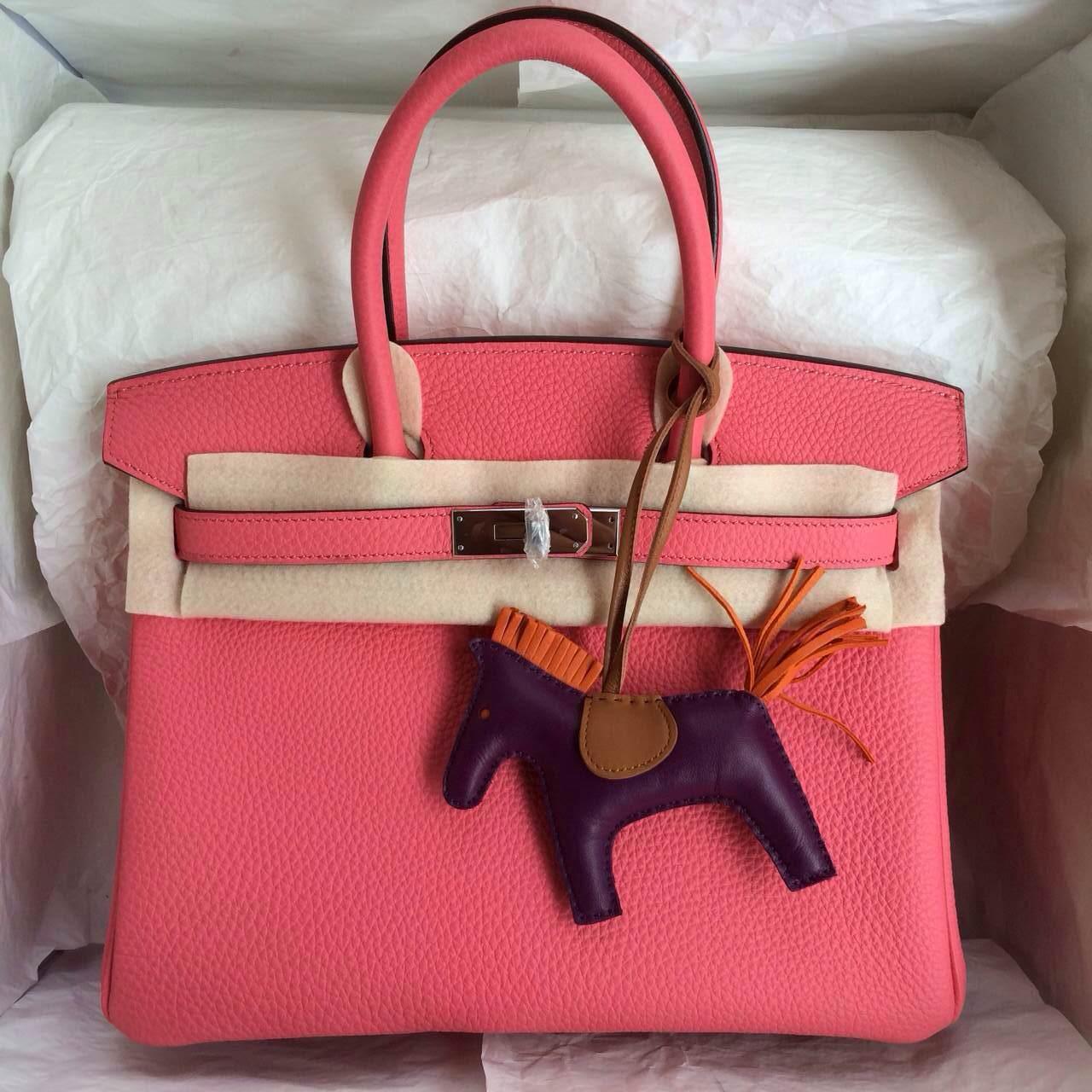 Hermes Birkin30 France Togo Leather U5 Rose Lipstick Color Hand Stitching