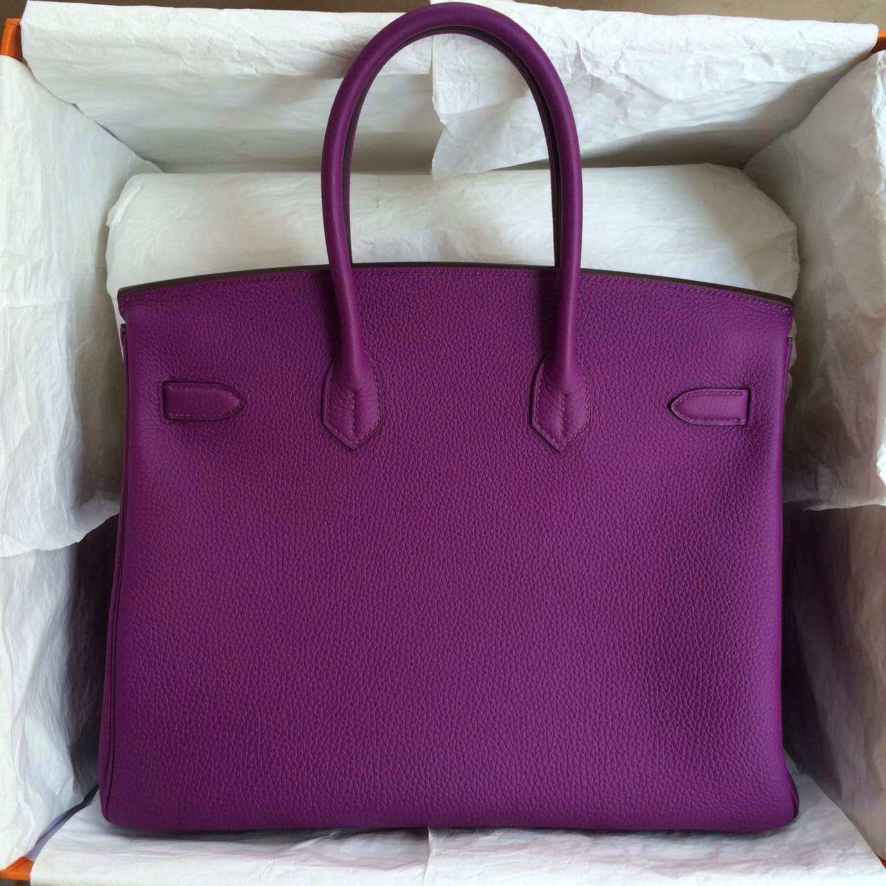 Hermes Birkin Handbag 30cm France Togo Leather P9 Purple Anemone Color