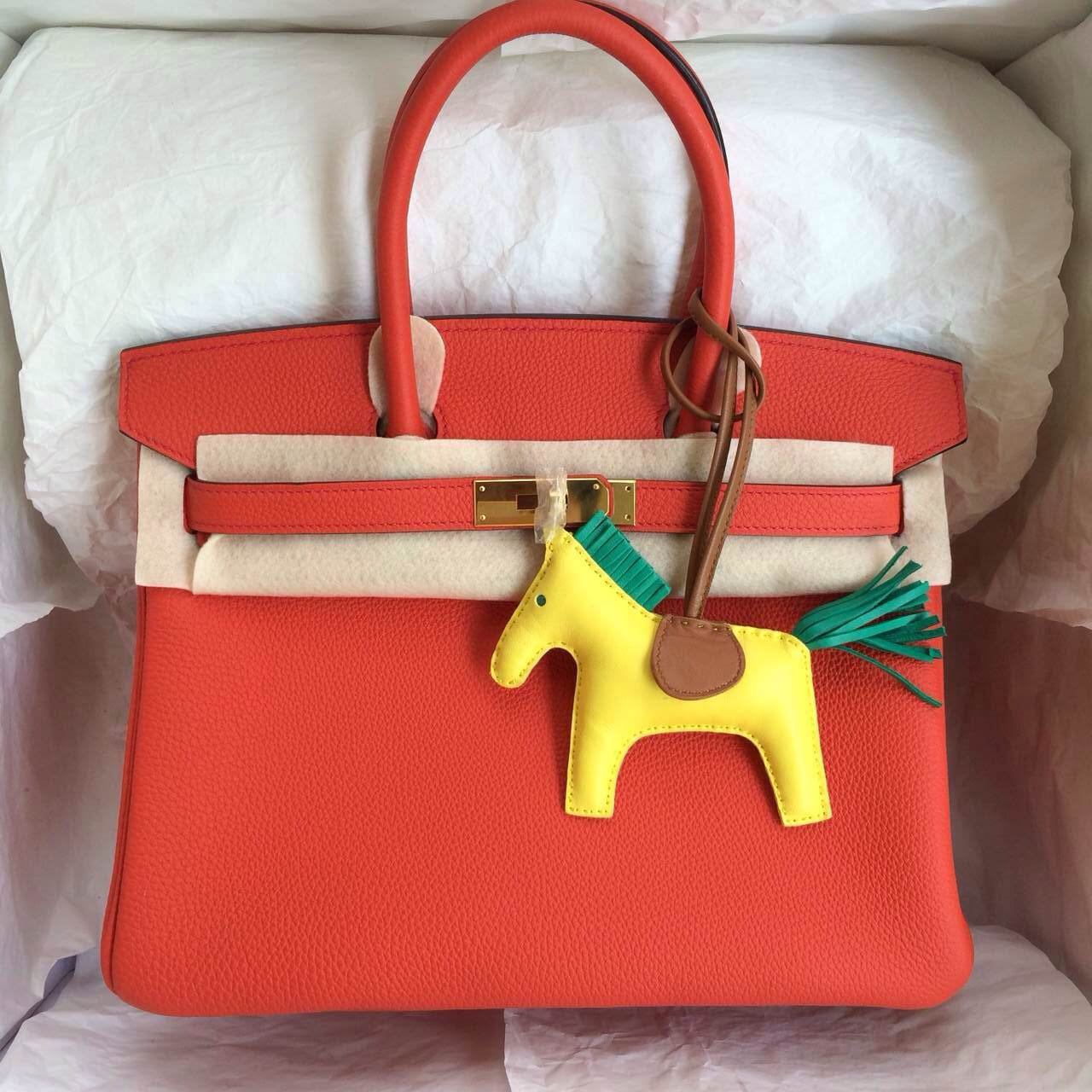 Hermes Birkin30 Hand Stitching Bags 9T Flame Red France Togo Leather