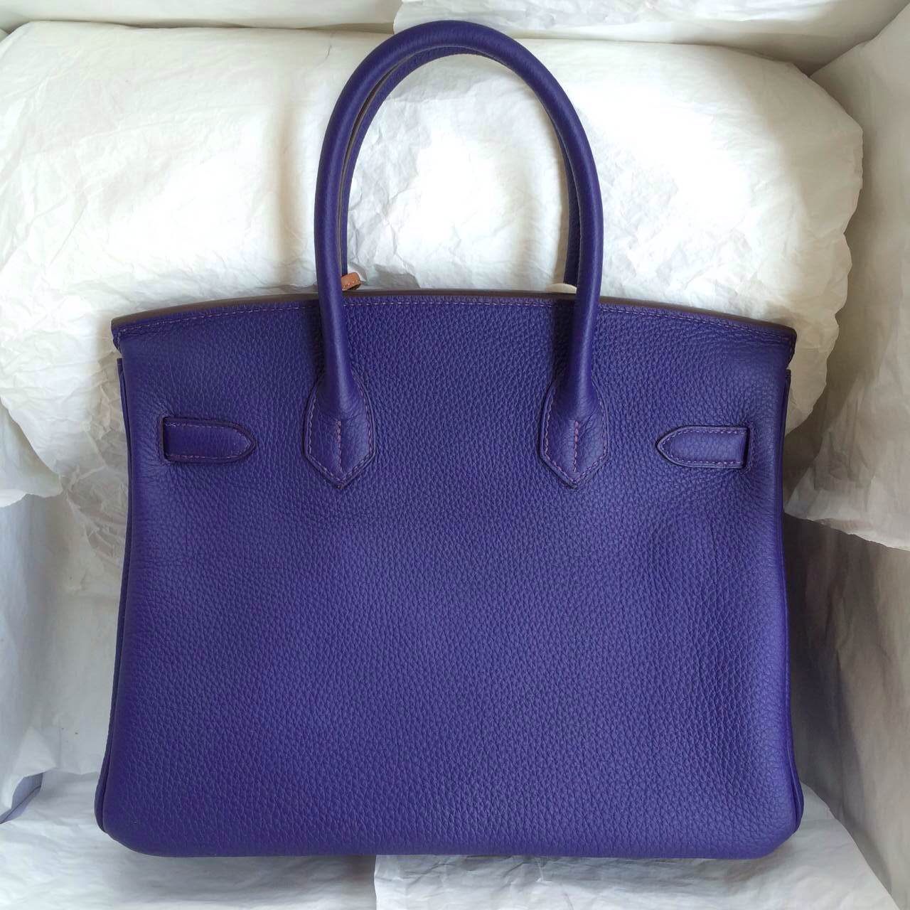 9K Iris Purple Hermes Birkin Handbags 30cm France Togo Leather