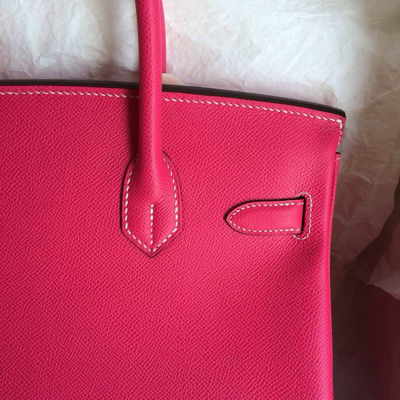 Pretty Hermes Birkin30 E5 Candy Pink Color France Epsom Leather Silver Hardware