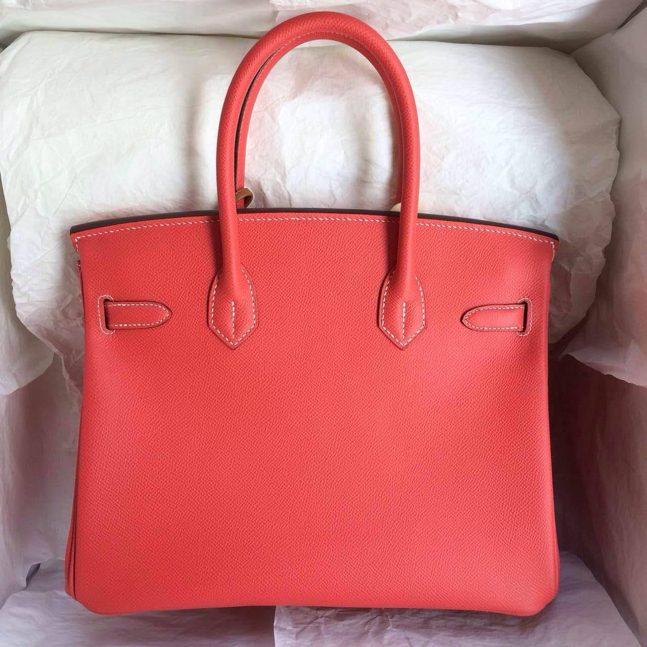 T5 Rose Jaipur France Epsom Leather Birkin Bags 30cm Hand Stitching Handbags