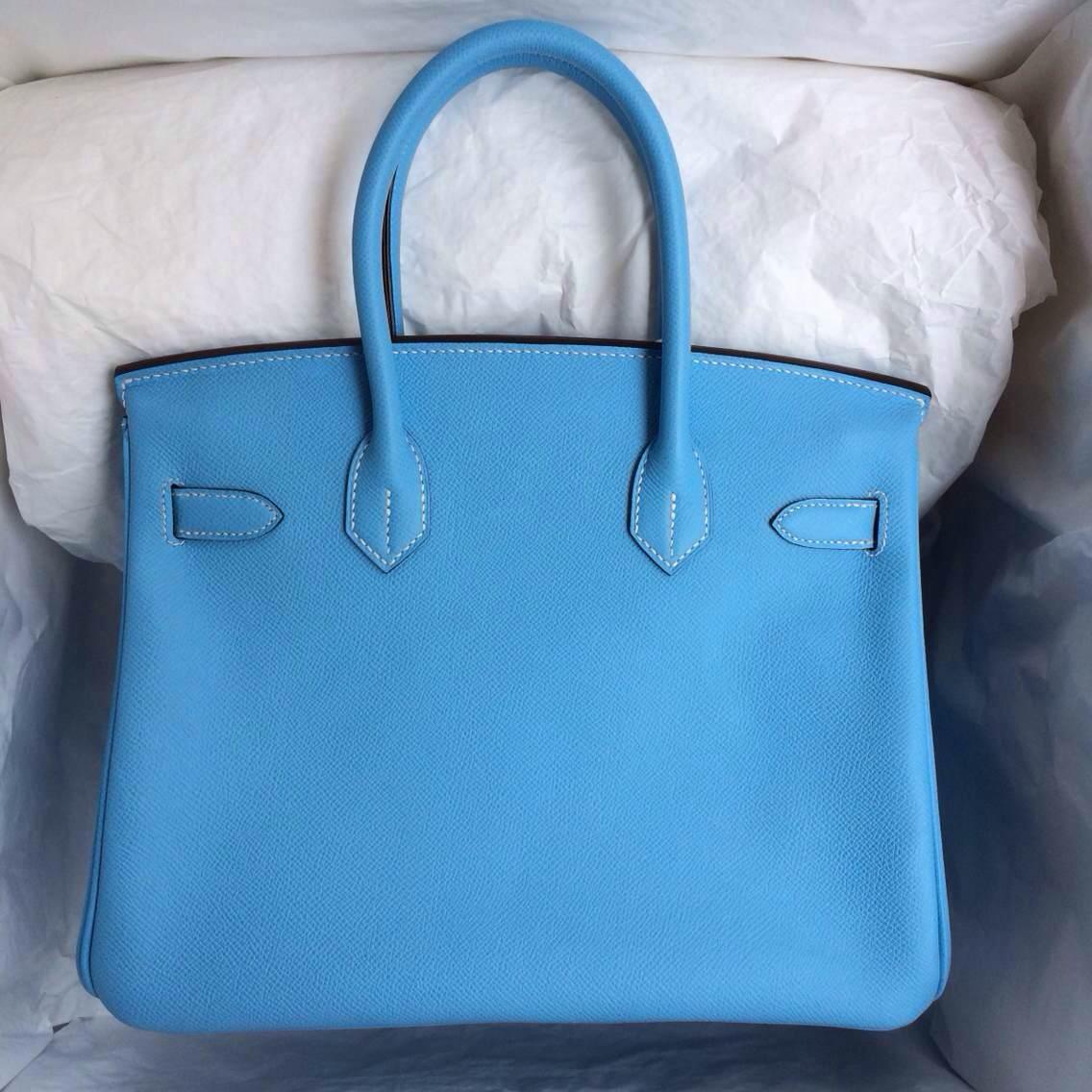 Hand Stitching Hermes Birkin30 Bag 7N Blue Paradise Epsom Calf Leather Silver Hardware