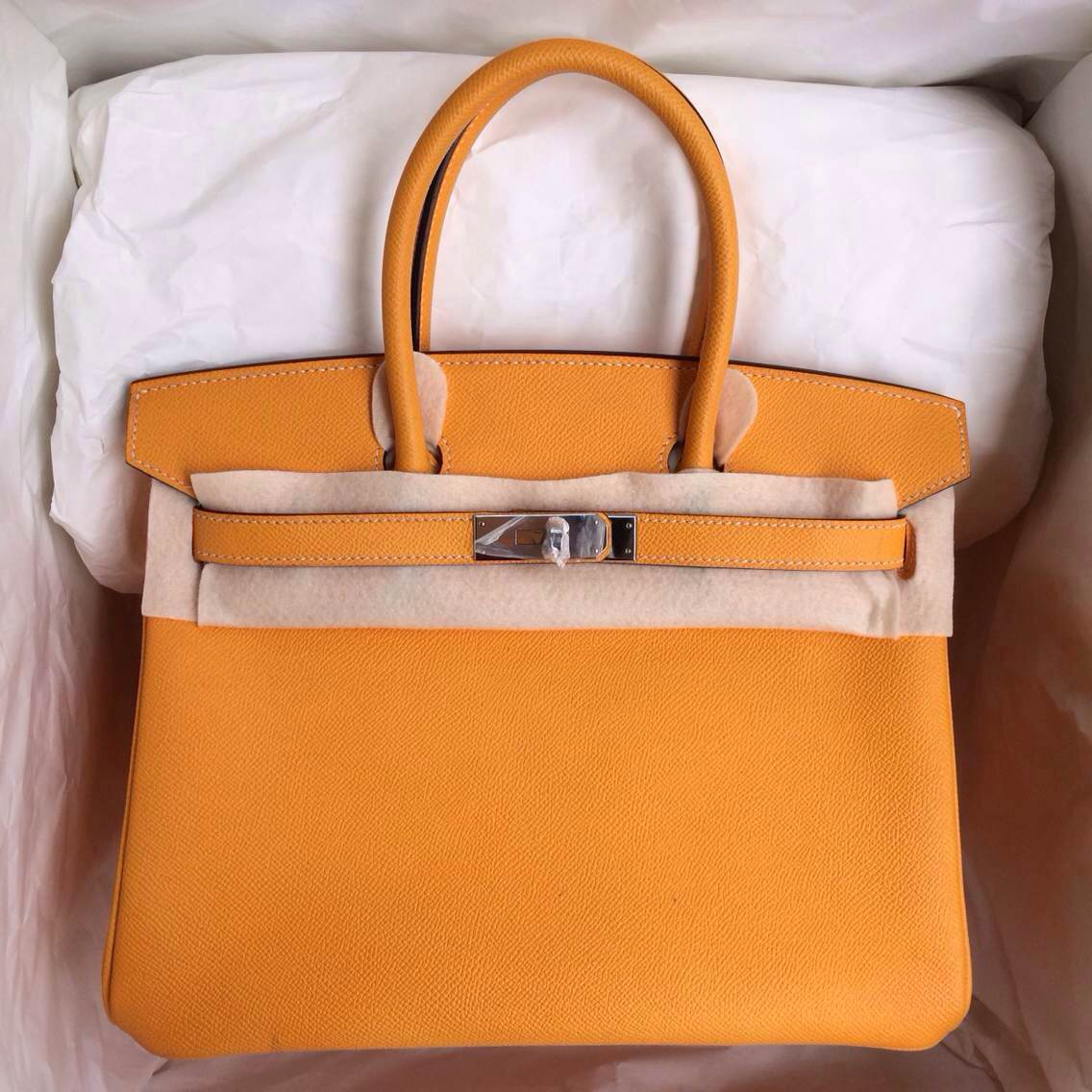 9V Sun Yellow Birkin Bag 30cm France Epsom Leather Gold/Silver Hardware