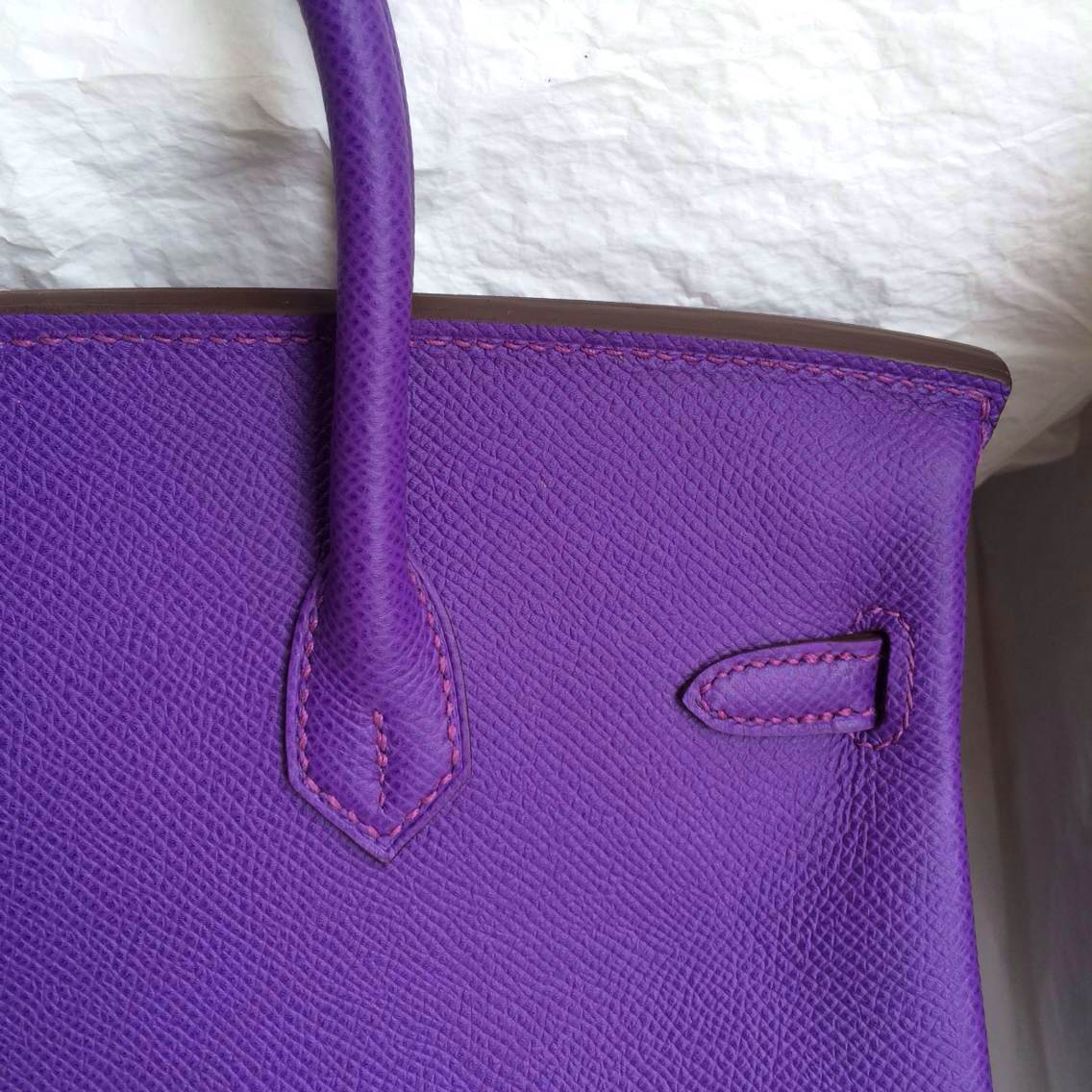 High Quality Birkin Bag 30cm 9W Violet Purple Epsom Leather Silver Hardware