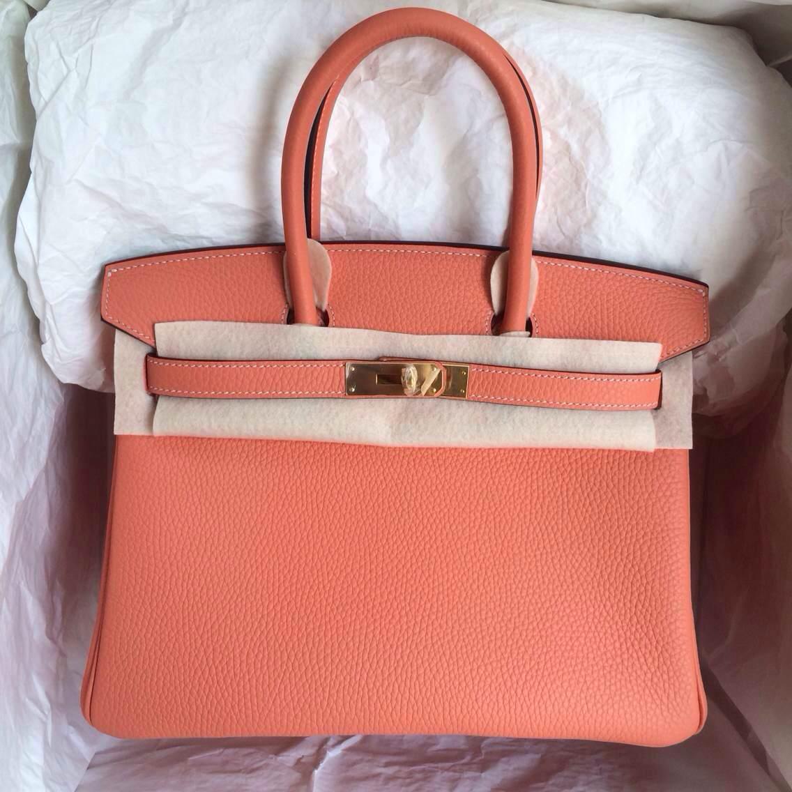 New Hermes Birkin30 L5 Crevette Pink Togo Leather Gold/Silver Hardware