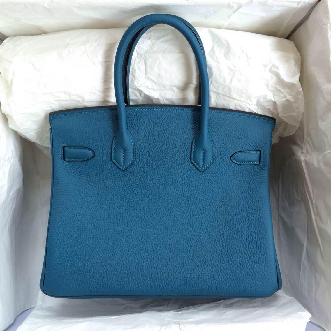 Hermes Birkin Bag 30cm S7 Blue De Galice France Togo Leather Silver Hardware
