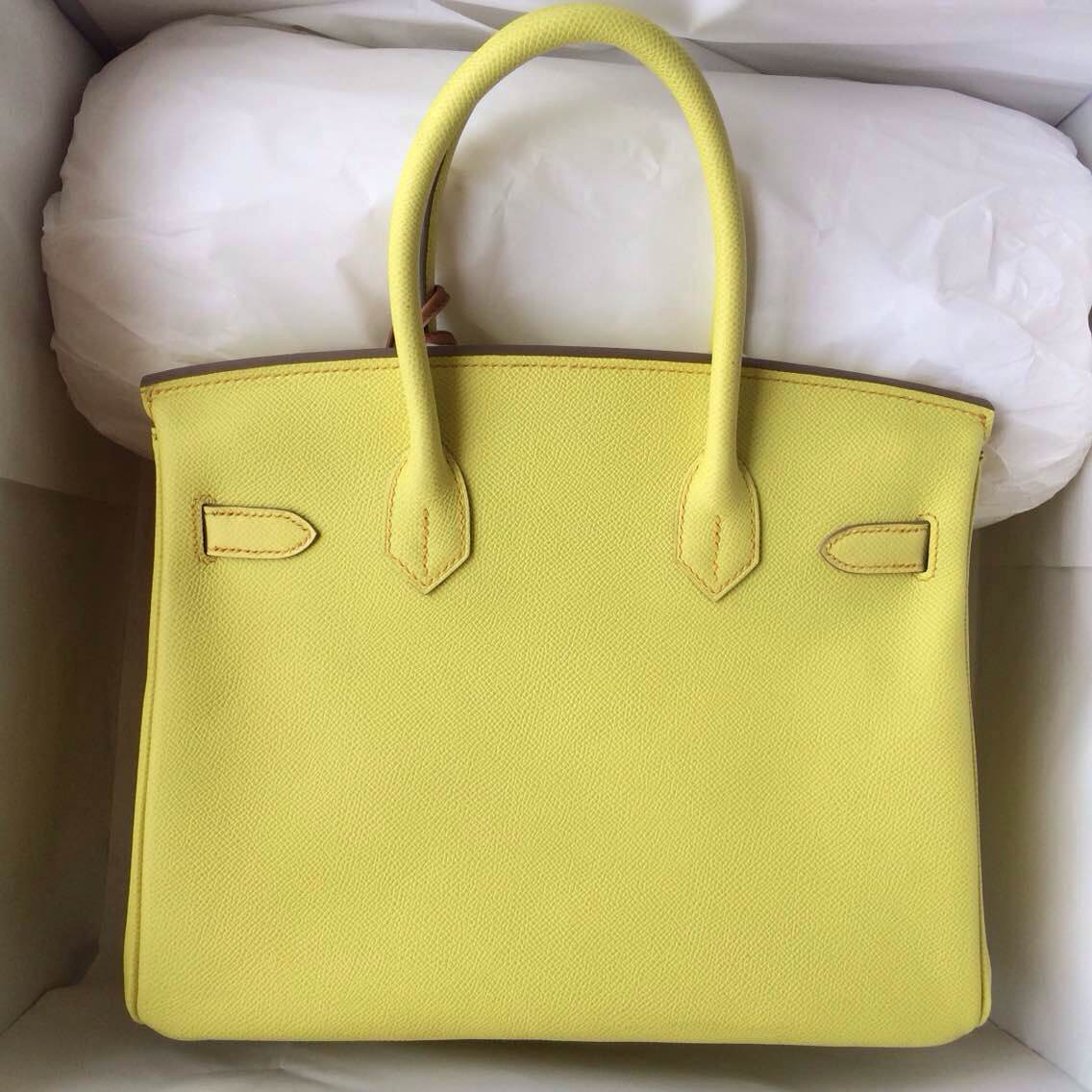 30cm Birkin Bag C9 Lime Yellow France Epsom Leather Gold Hardware