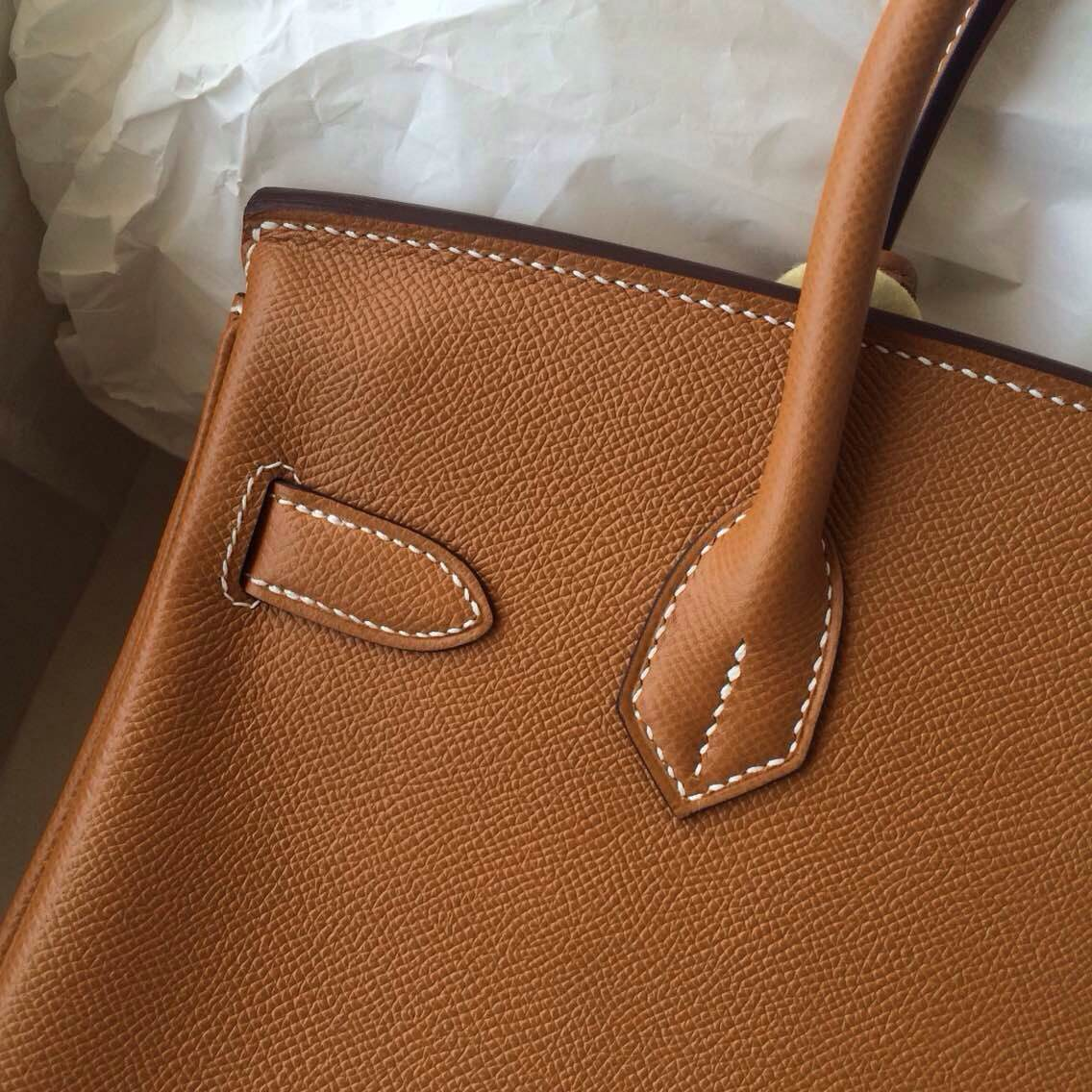 High Quality Hand Stitching Birkin30cm C37 Light Coffee Epsom Leather