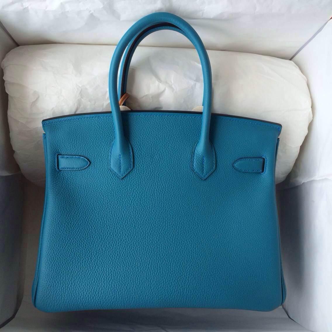 7B Turquoise Blue France Togo Leather Hermes Birkin Bag 30cm Gold Hardware