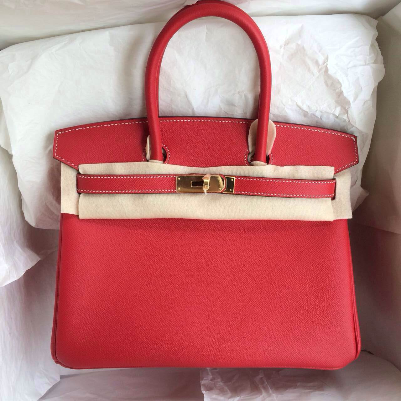 Q5 Candy Red/inner 7Q Cribe Blue France Epsom Leather Birkin Bag Gold Hardware