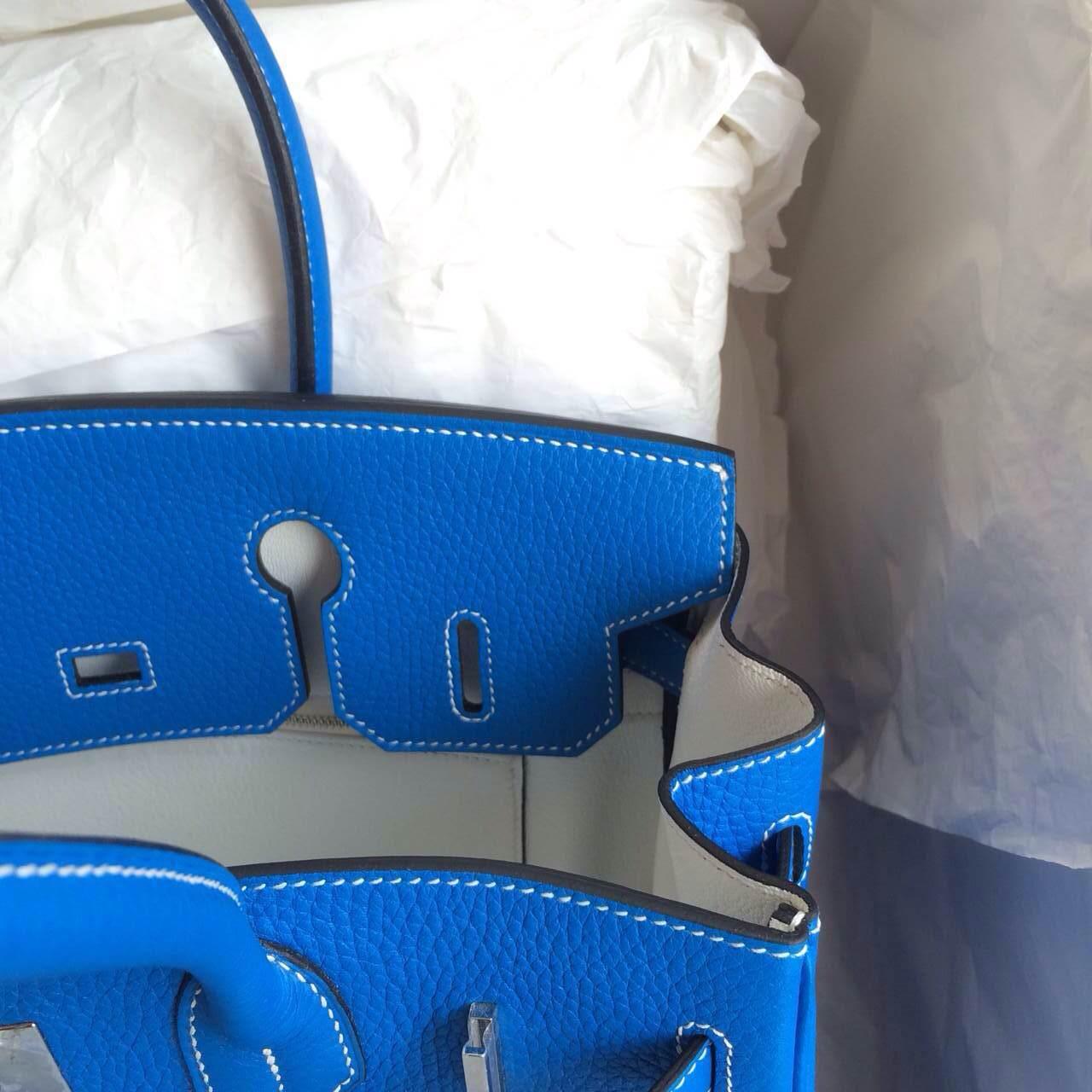Hand Stitching Birkin Bag30cm T7 blue hydra/white inner Gold Hardware