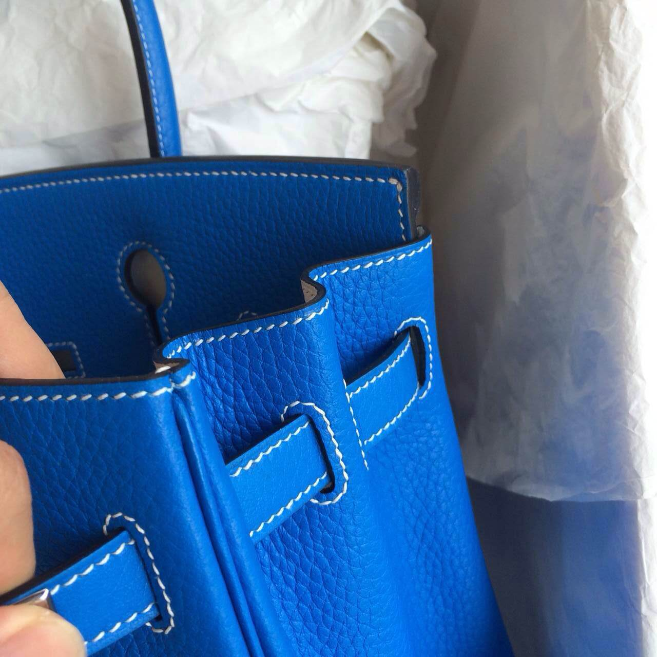Hand Stitching Birkin Bag30cm T7 blue hydra/white inner Gold Hardware