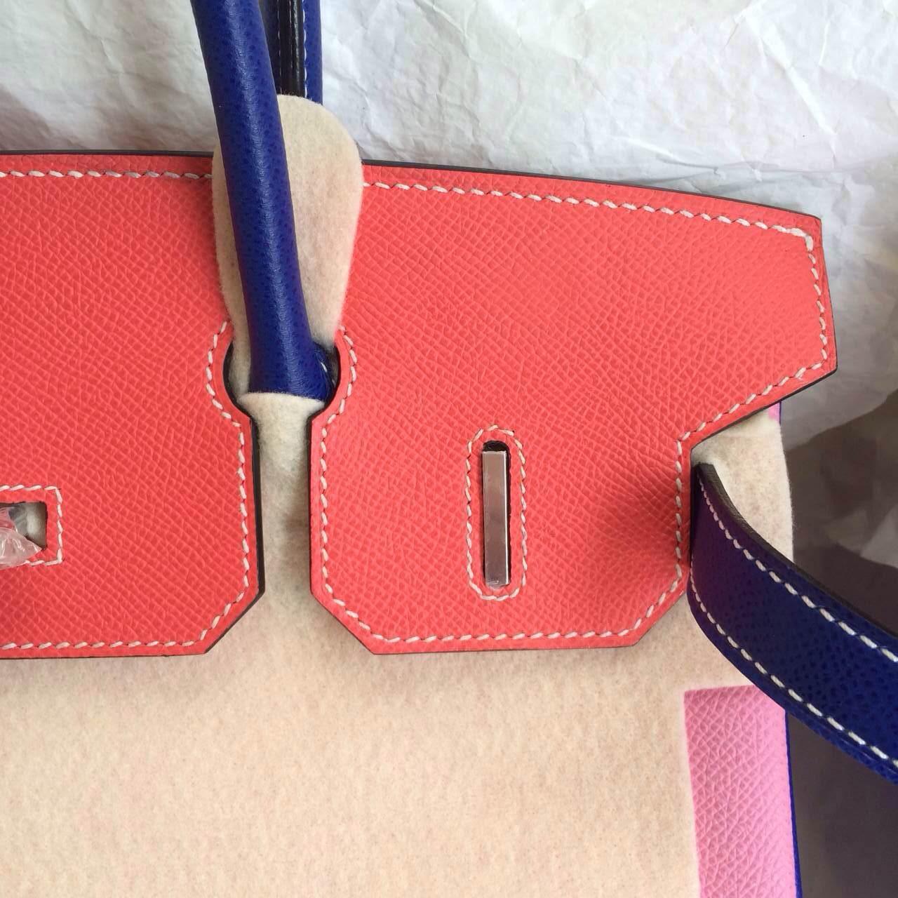 Hermes Birkin Bag 5P Pink/7T Blue Electric/T5 Rose Jaipur Epsom Leather