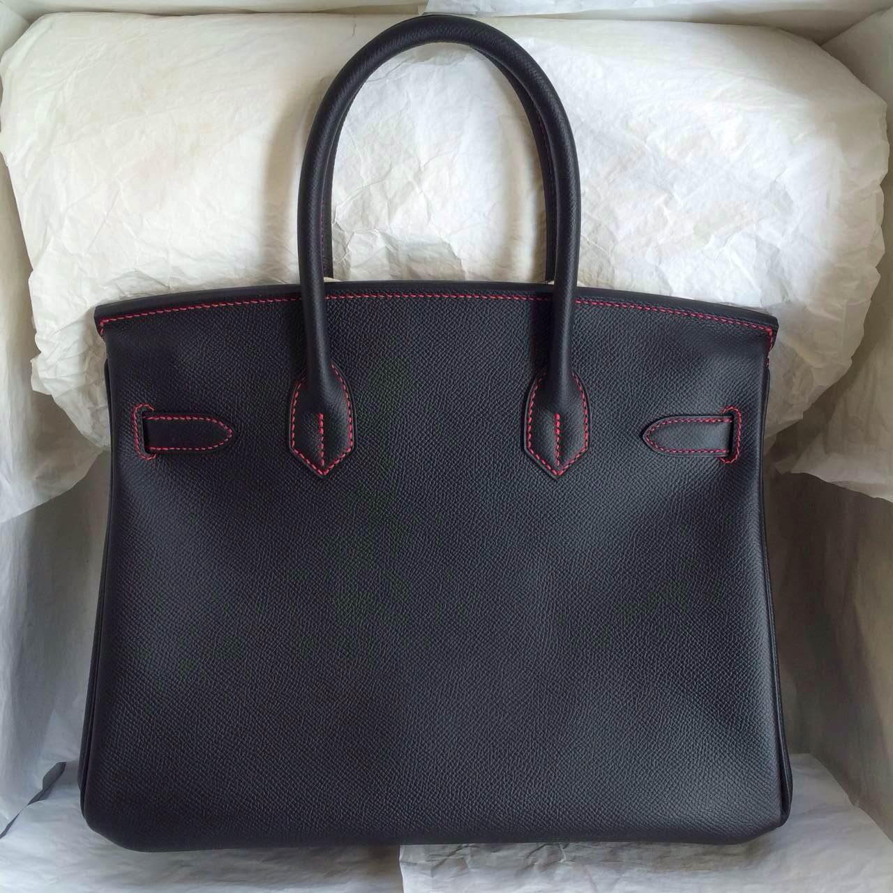 Black/E5 Rose Tyrien inner Epsom Leather Hermes Birkin Bag 30cm