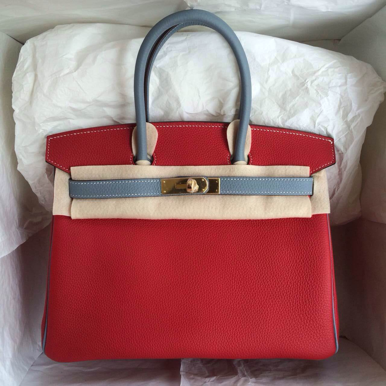 Fashion Hermes Birkin Bag 30cm Q5 Candy Red/J7 Blue Lin France Togo Leather