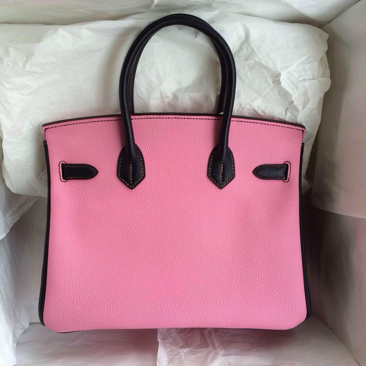 5P Pink/Black France Togo Leather Hermes Birkin Bag Gold Hardware