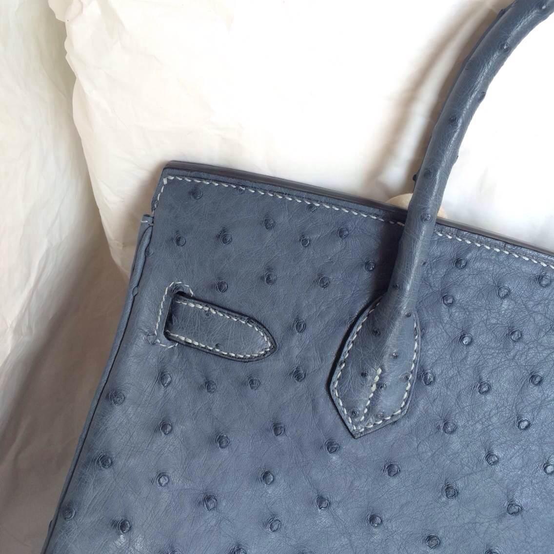 Wholesale Hand Stitching Hermes Birkin Bag 7Y Blue Orage Ostrich Leather
