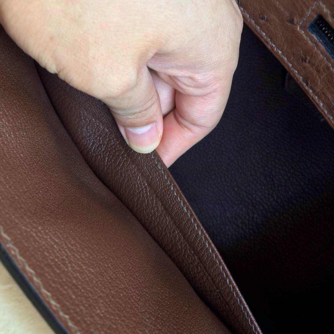 Vogue Coffee Color Ostrich Leather Hermes Birkin Bag30cm Silver Hardware