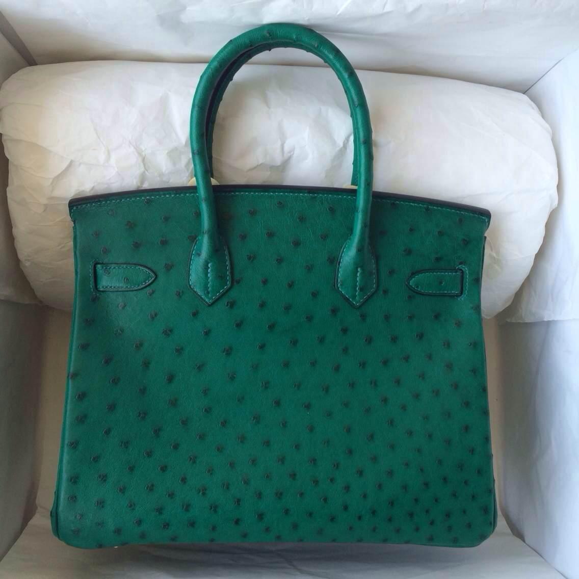 Hand Stitching Hermes Birkin Bag 6Q Jade Green Ostrich Leather