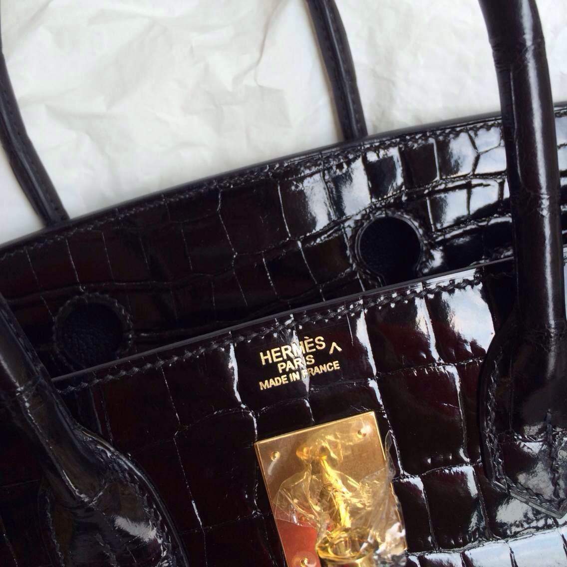 Elegant 89 Black Porosus Crocodile Skin Hermes Birkin Bag Gold Hardware