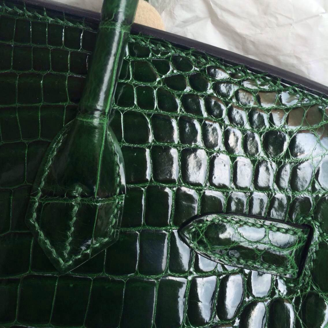 Fashion Hermes Birkin Bag30cm Emerald Green Porosus Crocodile Skin Wholesale