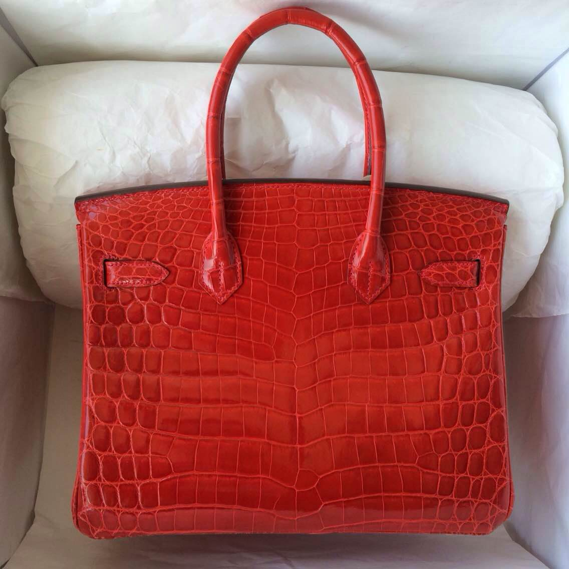 9T Flame Red Niloticus Crocodile Skin Hermes Birkin Bag 30cm Wholesale