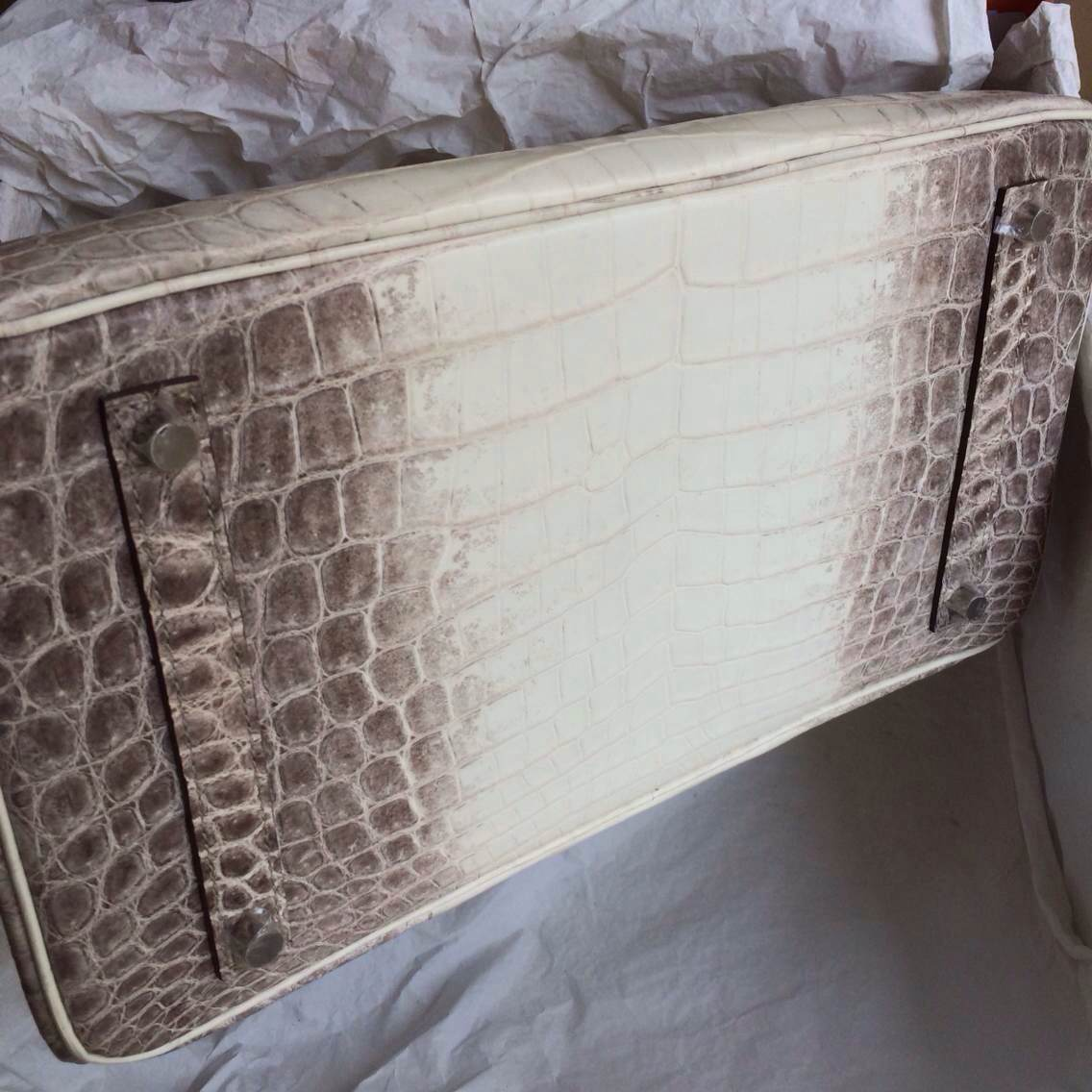 High Quality Himalaya White Color Crocodile Skin Hermes Birkin Bag 35cm