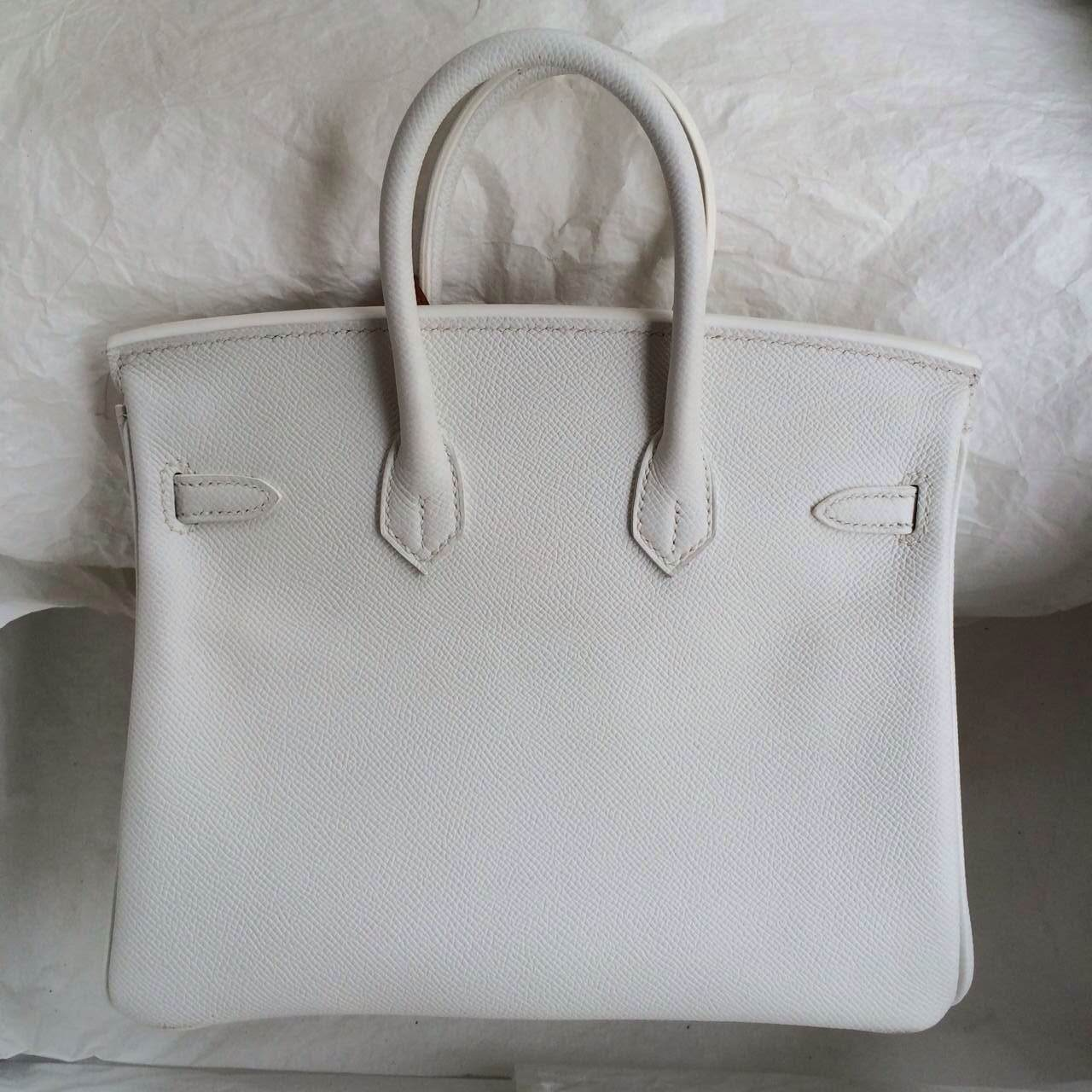 Hand Stitching 35cm Birkin Bag White/K5 Tosca France Epsom leather Wholesale