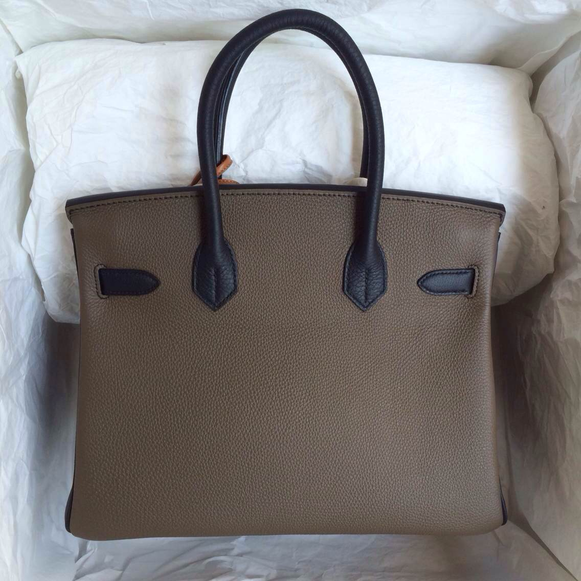 Wholesale Hand Stitching Hermes Birkin Bag 35cm C18 Etoupe Grey/89 Black Togo Leather