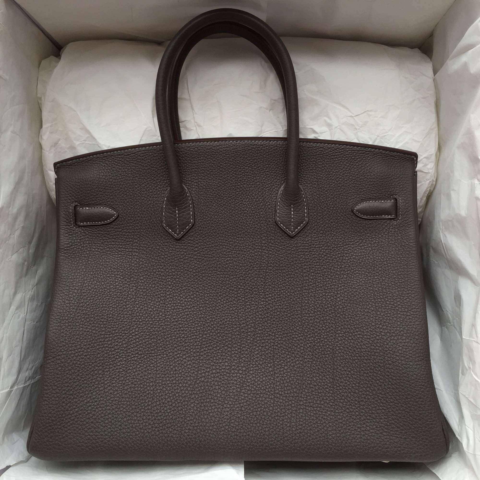 Pencil Grey Togo Leather Hermes Birkin35 Silver Hardware Fashion Tote Bag