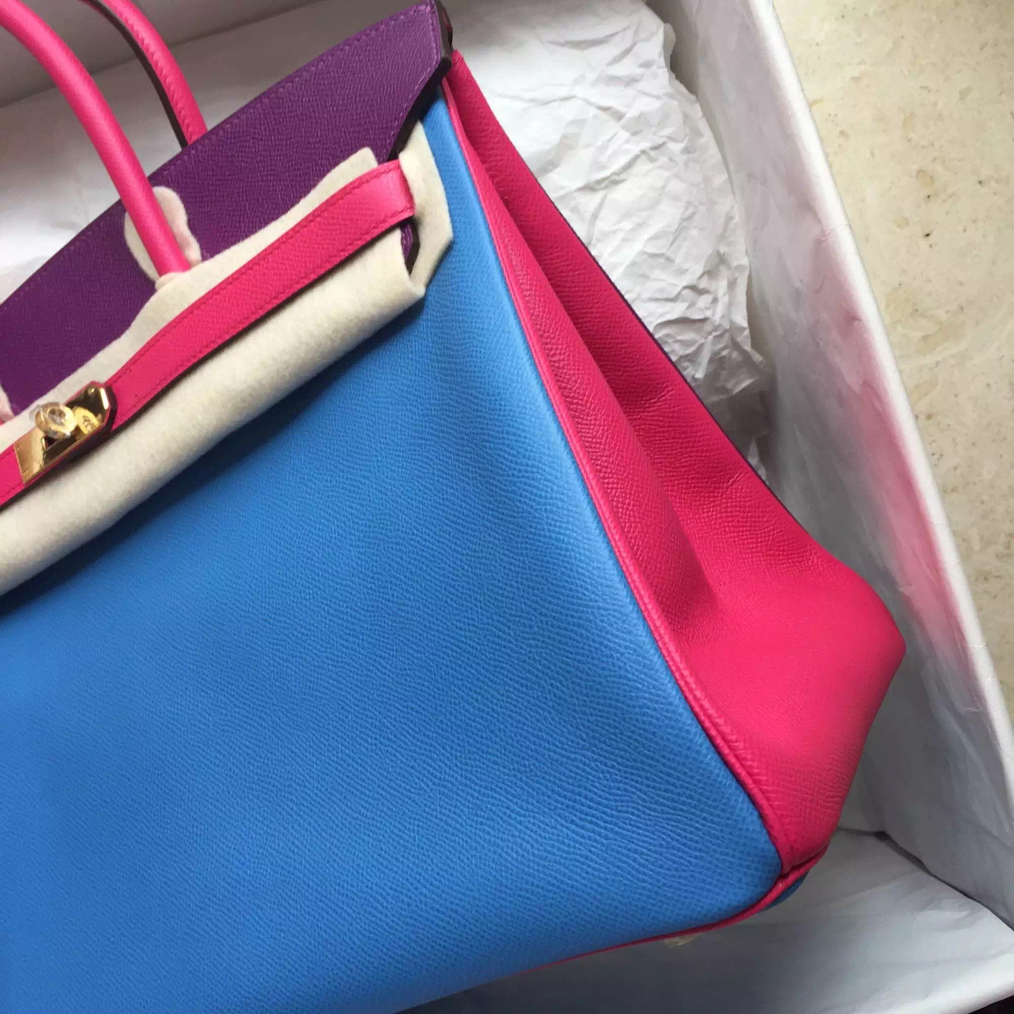 Hermes Birkin35cm 2T Blue Paradise/P9 Anemone/E5 Candy Pink Epsom Leather Tote Bag