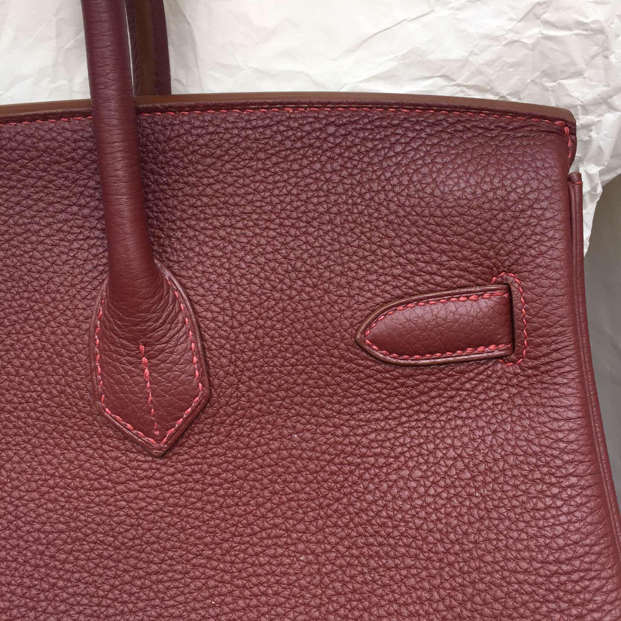 Hermes Birkin Bag 35CM B5 Ruby Red Togo Leather Women's Tote Bag Gold Hardware